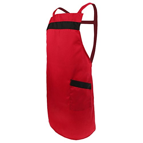 Fenteer Kochschürze Schürze mit 2 Seitentasche Küchenschürze Latzschürze Grillschürze Trägerschürze Kellnerschürze Serviceschürze Gärtnerschürze - Rot, wie beschrieben