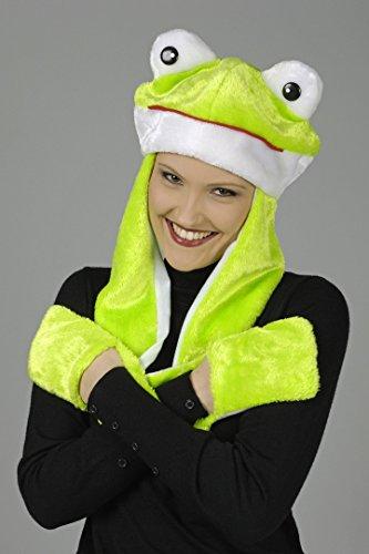 Generique - Frosch-Mütze mit Fäustlingen für Erwachsene