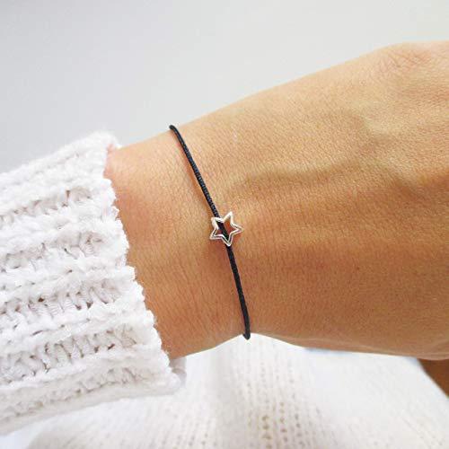 Armband mit Sternchen 925er Sterlingsilber Personalisiert | Glücksarmband Weihnachstgeschenk | Schwarz