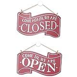 Open Closed Cartello, Cartello in Legno Aperto e Chiuso Due Lati con Corda per Ristorante caffè Negozio - 14 * 25 * 0.5CM