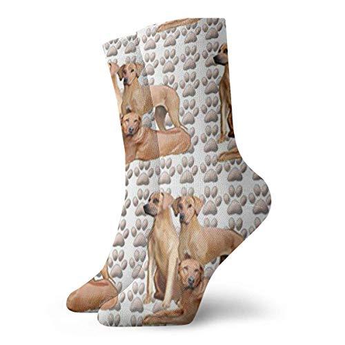Socken Atmungsaktiv Drei Rhodesian Ridgebacks Crew Sock Exotisch Modern Damen und Herren Gedruckt Sport Athletic Socken 30cm Socken