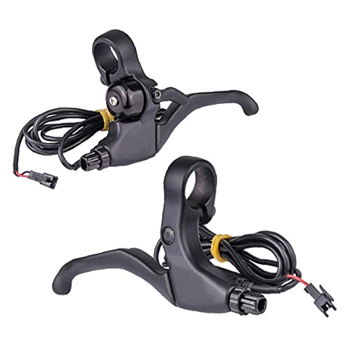Puela de freno de bicicleta Bicicleta eléctrica de 4 dedos 2 cables izquierda derecha con campana Palanca de freno Negro 1 par, buen anexo de bicicleta