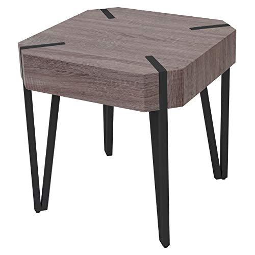 Table Basse de Salon KOS T574, FSC 52x50x50cm - chêne foncé, Pieds métalliques foncés