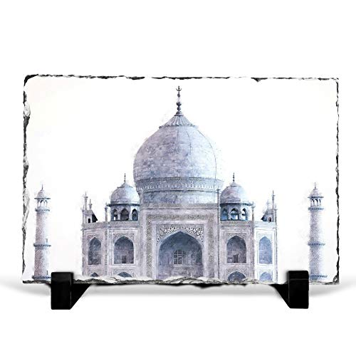 Big Box Art The Taj Mahal in Agra India Painting - Slate Rock Picture Frame Home Décor Ornament - 30x20 cm