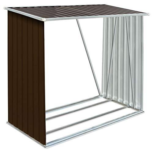 Capannone da Giardino in Acciaio Zincato 163 x 83 x 154 cm Capannone Porta Legna da Giardino Aperto Ventilato Robusto Stabile-Marrone