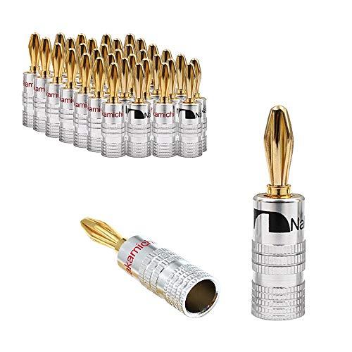 Docooler 32 Karat Gold Bananenstecker Audio Jack Steckverbinder Dual Screw Lock Jack Lautsprecher Bananenstecker für Lautsprecherkabel Wandplatte 16 Pairs (32 STÜCKE)