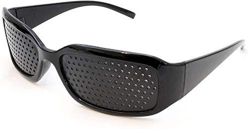 XLKJ Gafas de Rejilla, Gafas Reticulares Vidrios del Agujero de Alfiler, Anti-Fatiga,Negro
