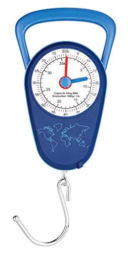 moses. Fernweh Kofferwaage analog | Gepäckwaage bis 35 kg mit Maßband | Doppelskala in Kilogramm und Pfund Gepäckwaage, 13 cm, Marineblau