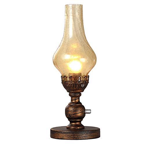 Altmodische Petroleumlampe Nostalgische Nachttischlampe Klassische Dekoration Öl Lampe Cafe Restaurant Tischplatte Beleuchtung Dimmbar Mit Drehschalter E27 (Color : Brown)