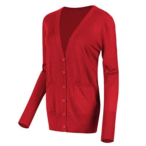 Urban GoCo Femmes Casual Cardigan en Tricot Pull à Manches Longues Classique Blouson Gilet avec Boutons (S, Rouge)