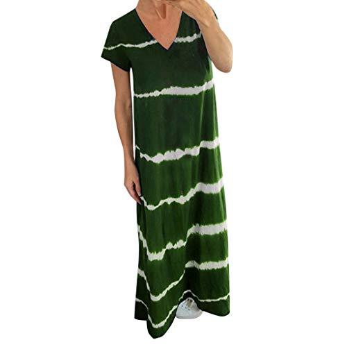 Shinehua Maxi jurk dames casual zomerjurk korte mouwen V-hals lange jurk losse strandjurken hohetaille partyjurk elegante maxikjurk avondjurken cocktailjurken vrijetijdsjurken Large groen