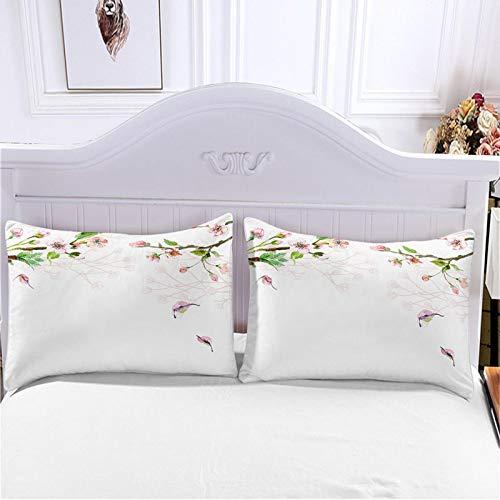 HKDGHTHJ funda nórdica Pájaro melocotón rojo 260 x 230 CM Juego de ropa de cama de estilo simple a la moda de 4 piezas, juego de sábanas de edredón, ropa de cama, textiles para el hogar, tamaño doble