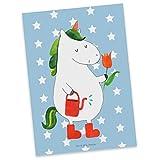 Mr. & Mrs. Panda Carte, Carte de vœux, Carte Postale Jardinier de Licorne - Couleur Pastel Bleu