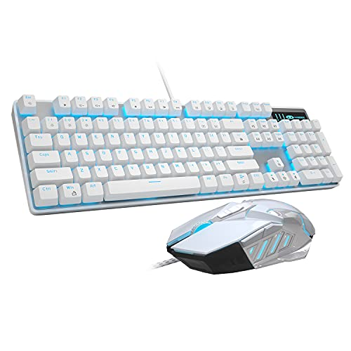 Mechanical Gaming Keyboard and Mouse Combo Blue Switch 104 Keys White Backlit Keyboards, MageGee MK-Storm,7 Button Mouse Wired for PC Gamer Computer Laptop(White)