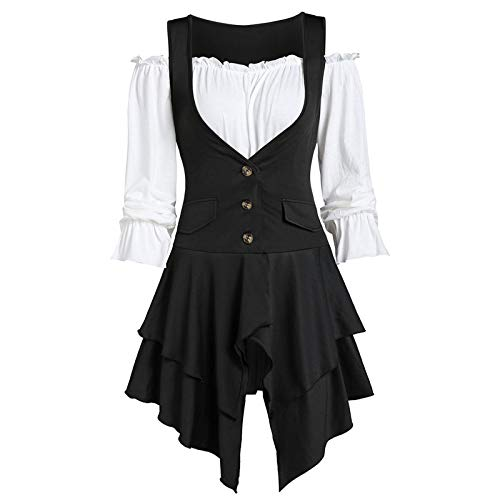 VEMOW Heißer Sommer Große Größe Frauen Damen Schulterfrei T-Shirt Spitze Langarm Casual Tops Bluse (54 DE / 5XL CN, Weiß)