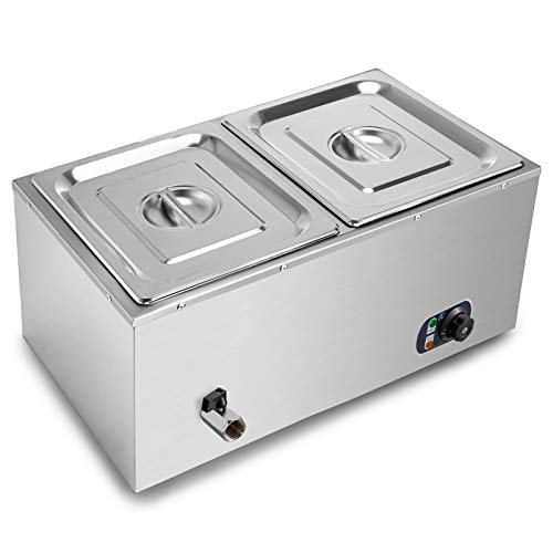 VEVOR 110V 2-Pan Commercial Food Warmer, 1200W Electric Steam Table 15cm/6inch Deep, Professional Stainless Steel Buffet Bain Marie 22 Quart for Catering and Restaurants