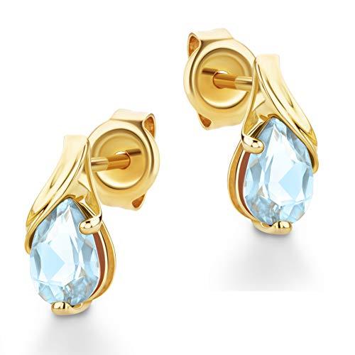Orovi Schmuck Damen tropfen Ohrringe mit Edelstein/Geburtsstein Aquamarin in blau Ohrhänger aus Gelbgold 9 Karat / 375 Gold