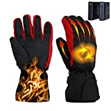 Heated Gloves,Battery Powered Thermal Heating Gloves,Windproof Winter Warm Hand Gloves for Women Men-Hiking,Skating, Skiing,Snowboarding,Biking and Walking,Good Gift for Winter(Black&Red)