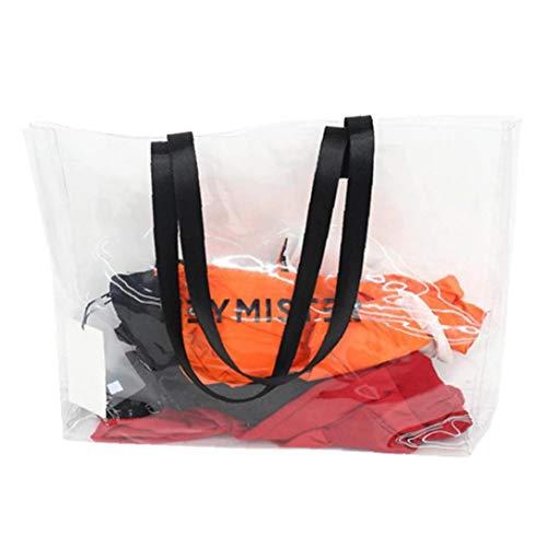 Transparente PVC-Handtasche Strand-Schulter-Beutel Kunststoff klar Tote Frauen große Kapazitäts-Weiß