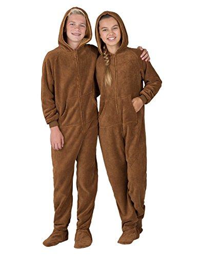 Footed Pajamas - Teddy Bear Kids Hoodie Chenille Onesie (Kids - Large (Fits 4'9-4'11')) Brown
