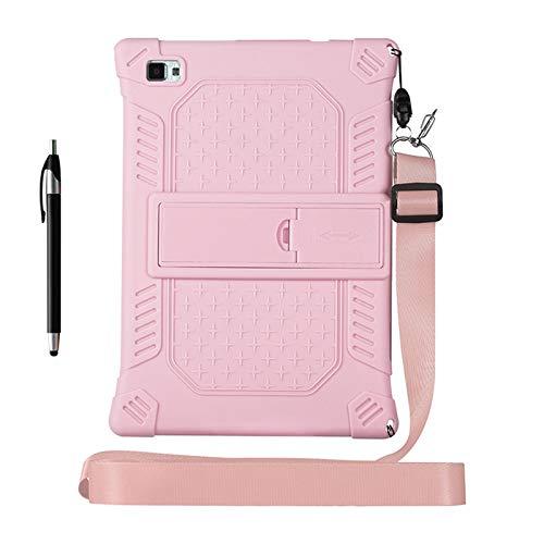 KATUMO Funda de silicona para Teclast P20HD de 10,1 pulgadas [Stylus Pen & Correa de hombro & Soporte Ajustable] Funda ligera Compatible con Tablet TECLAST M40 Tablet,Rosa Claro