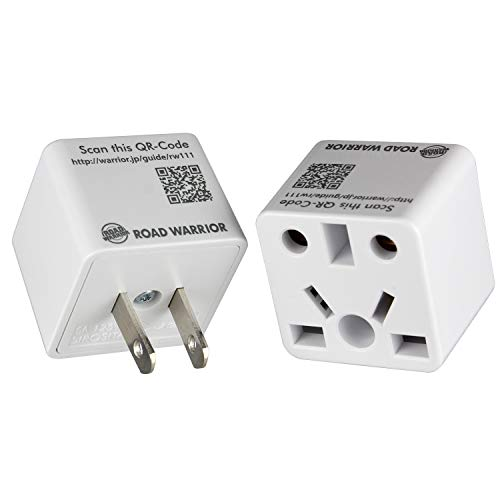 [2 Pack] ROAD WARRIOR US Travel Plug Adapter EU/UK/CN/AU/IN to USA (Type A) - RW111WH-US