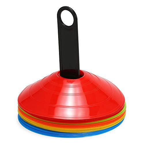 Lixada Lot de 15/25 cônes de Disque agilité Multi-Sports avec Support en Plastique pour Ballon de Football (15PCS)