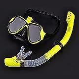 ALLWIN Máscara de esnórquel Conjunto de Tubo de esnórquel Máscara de Buceo Gafas de Buceo antivaho Tubo de esnórquel para cámara de Deportes subacuáticos,Amarillo