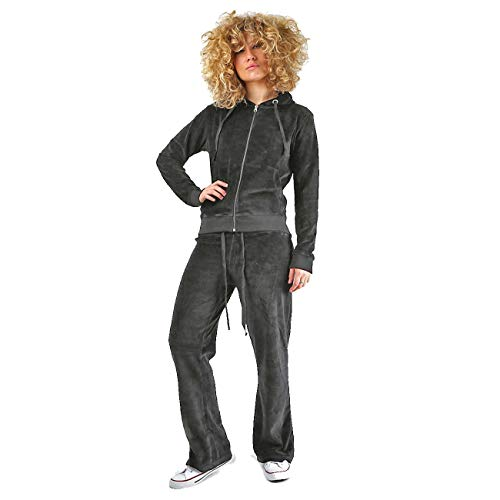 Womens Velour Full Tracksuit Hoodie And Jogging Pants Ladies Drawstring Zipper Joggers Sport Gym Normal And Plus Sizes 2 Piece Set M Charcoal