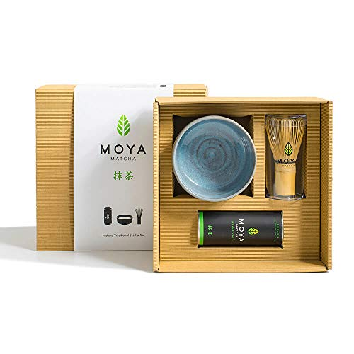 Organischer Moya Matcha Tee Set Pulver Grün | BIO 30g Traditionelle Klasse (II) | Verpackung + Matcha-Schale + Bambusbesen | Set zur Matcha-Zubereitung | Perfekt als Geschenk