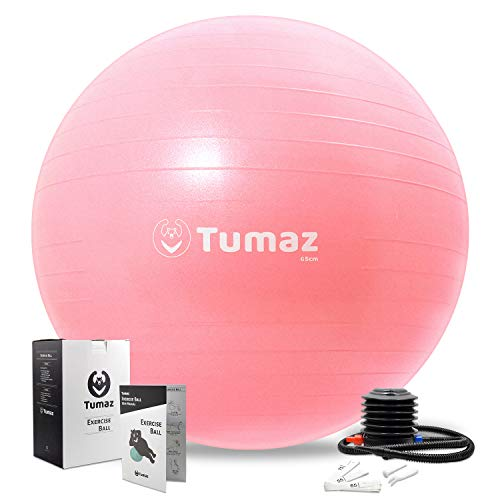 Tumaz Exercise Ball [Anti Burst/Extra Thick/Heavy Duty] with Quick Pump Great for Ball Chair, Birth Ball, Balance Ball, Swiss Ball, Pilates, Yoga [Exercise Ball]