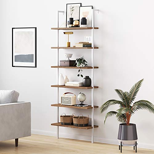 Nathan James Theo 6-Shelf Tall Bookcase, Wall Mount Bookshelf with Natural Wood Finish and Industrial Metal Frame, Rustic Oak/White