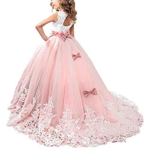 OBEEII Blumensmädchenkleid Prinzessin Ballkleid Kinder Mädchen Festliches Kleid Festzug Kleider Hochzeit Kommunikation Brautjungfern Kleidung Elegant Langes Abendkleid 8-9 Jahre Rosa