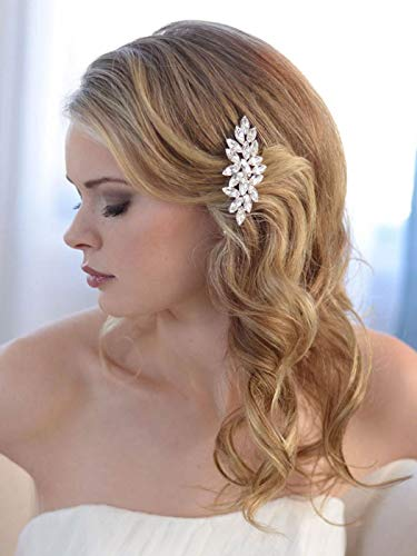 Unicra Crystal Wedding Hair Comb Bridal Hair Accessories for Brides and Bridesmaids (A-Silver)