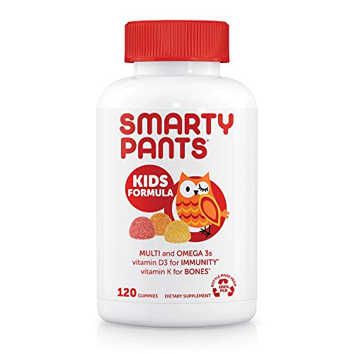 SmartyPants Kids Formula Daily Gummy Multivitamin: Vitamin C, D3, and Zinc for Immunity, Gluten Free, Omega 3 Fish Oil, B6 & Methyl B12 for Energy, 120 Count (30 Day Supply)
