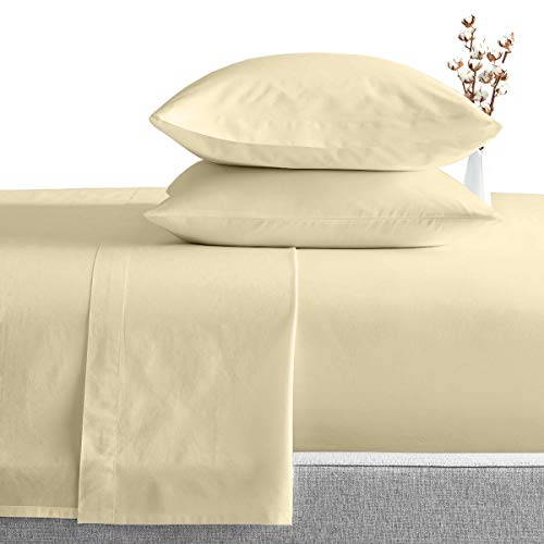 King Size Egyptian Cotton Sheets Luxury Soft 1000 Thread Count- Sheet Set for King Mattress Ivory Solid