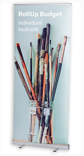 MultiBrands® Rollup Display Budget - JETZT SELBST GESTALTEN - mit eigenem Wunschmotiv, individuell Bedruckt, problemlos online editiert ohne Umwege, Farbe: Silber (85 x 200 cm)
