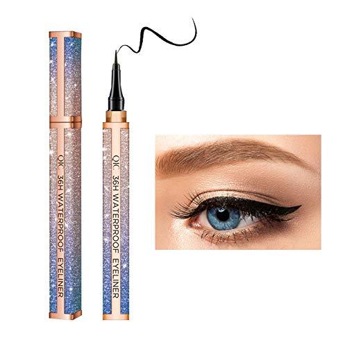 Onlyoily Delineador de ojos a prueba de agua, delineador líquido negro, resistente al agua, antiincrustante, 36 horas delineador líquido de larga duración