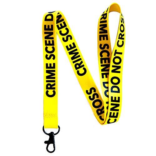 Crime Scene Do Not Cross Lanyard Keychain w/Metal Clasp - Forensic ID Lanyard for Keys Badge Name Tag - Law Enforcement ID Holder Keychain for CSI Fan Men Women Kids (Yellow, 1 Lanyard)