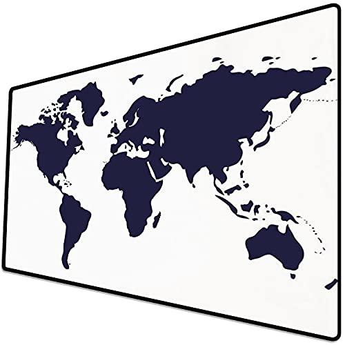 Alfombrilla de ratón (600x300x3 mm) Mapa, Color índigo Mapa gráfico del Mundo Pantalla vívida Tema Internacional Internacional Decora Superficie Suave y cómoda de la Alfombrilla de ratón para Juegos