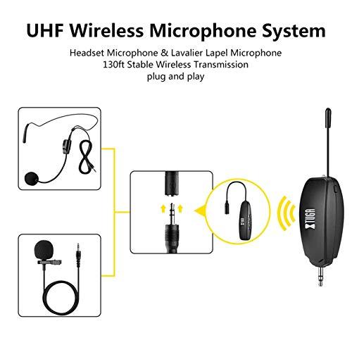 KX623 UHF Micrófono inalámbrico Conjunto con micrófono Auricular, Mic Lavalier Solapa, Play para Altavoces, teléfonos, cámaras grabación de Voz 0309