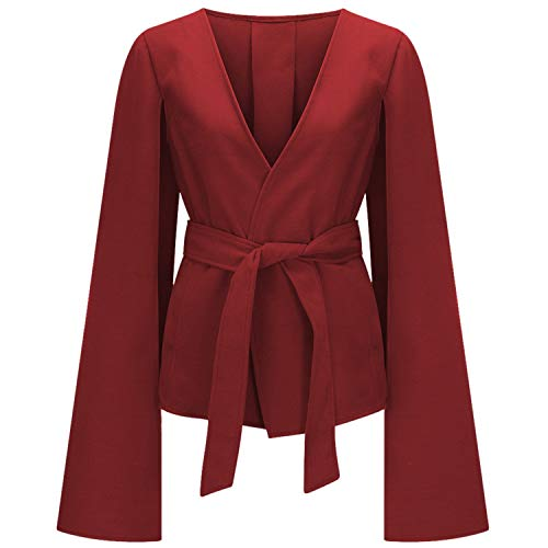Vintage Belt Flare Split Long Sleeve Jackets Blazers Formal Coat Red