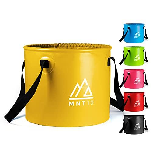 MNT10 Outdoor Falteimer in 15L oder 20L I Faltschüssel aus robustem Planen Gewebe I Als Camping Spülschüssel, Spülwanne oder als Faltbarer Eimer für Camping Geschirr, Besteck (Gelb 15L)
