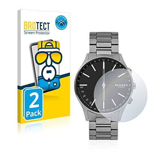 BROTECT Full-Cover Schutzfolie kompatibel mit Skagen Hybrid Smartwatch Holst (2 Stück) - Full-Screen Bildschirmschutz-Folie, 3D Curved, Kristall-Klar