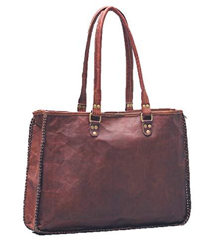 PASCADO Handgemachte Leder-Tragetasche Vintage Schultertasche echte Handtasche für Frauen