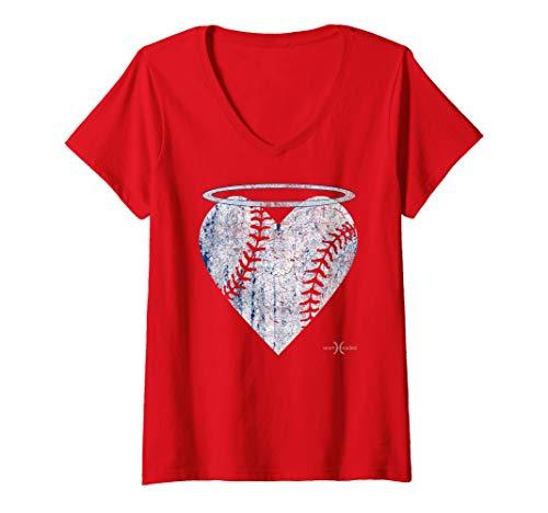 Womens Vintage Angel Baseball Heart with Halo V-Neck T-Shirt