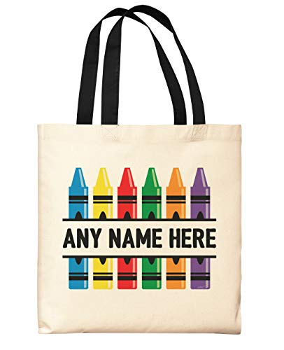 Custom Tote Bags for Teachers Colorful Crayons Add Name Personalized Black Handle Canvas Tote Bag