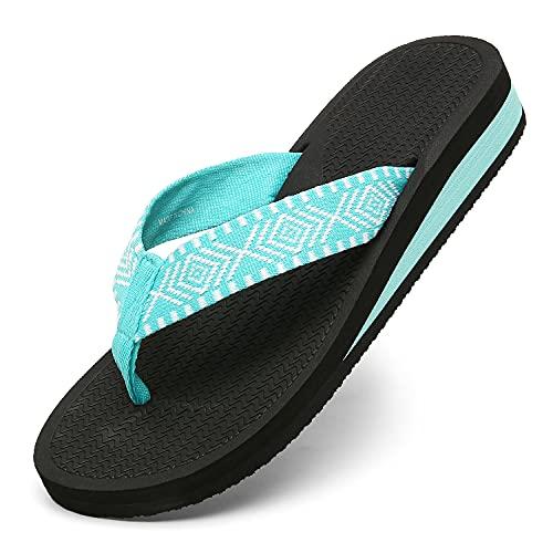ChayChax Chanclas de Cuña para Mujer Suave Sandalias de Playa Ligero Pantuflas Verano Zapatillas Antideslizante(Azul,37EU