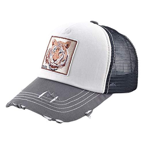 JERKKY Gorra de béisbol Unisex Algodón Vintage Hip-Hop Irregular Animal Malla Bordada Volver Ajustable Trucker Hat 9#