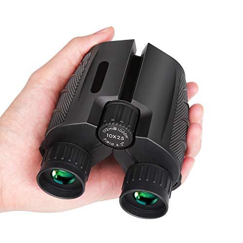 Oasislive 10x25 Kompaktes Fernglas für Erwachsene, kleines Fernglas für Vogelbeobachtung, Konzerte, Jagd, BAK-4 FMC Objektiv mit Nachtsicht bei schwachem Licht